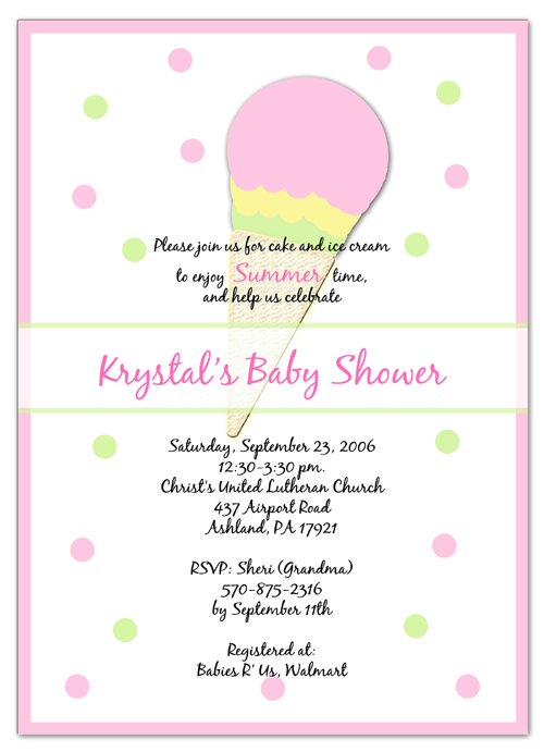 Ice Cream Pink Baby Shower Invitations