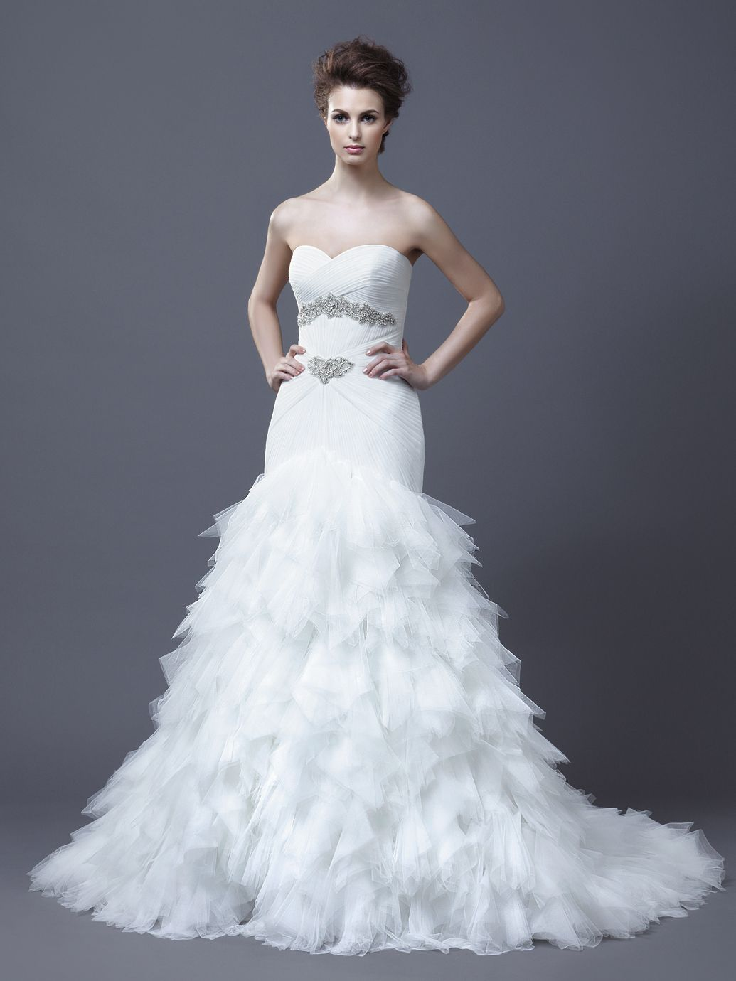 White and silver wedding dresses  HADIYA  Enzoani Collection  Enzoani  Available Colours  Ivory