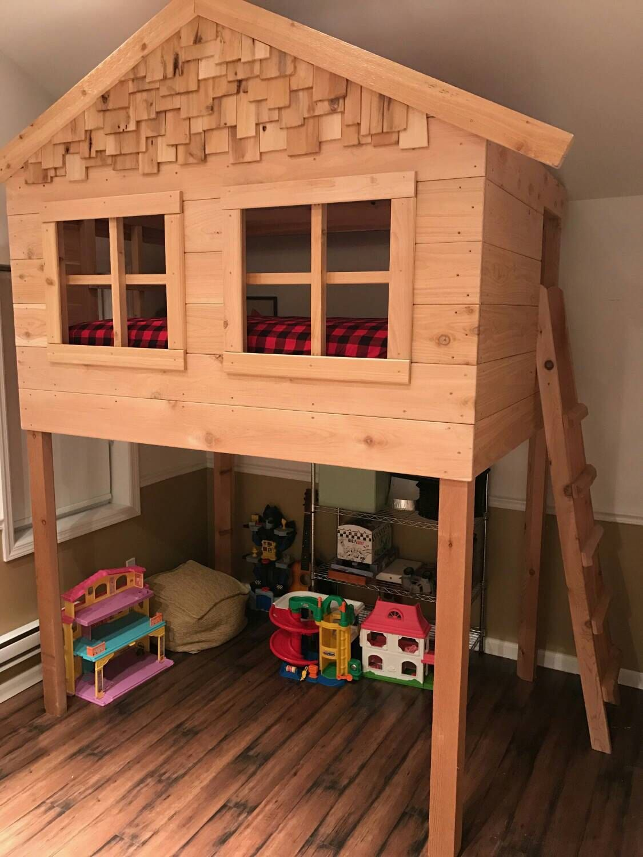 Treehouse loft bed with slide  Rustic Cedar Custom TreehouseCabin style Loft Bed Rustic