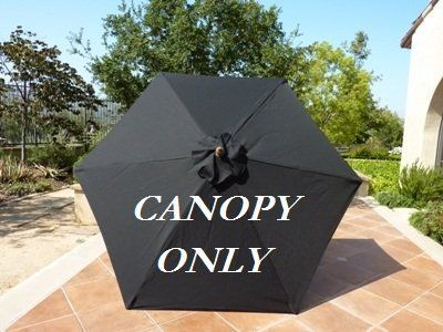 9ft Umbrella Replacement Canopy 6 Ribs In Black Canopy Only By