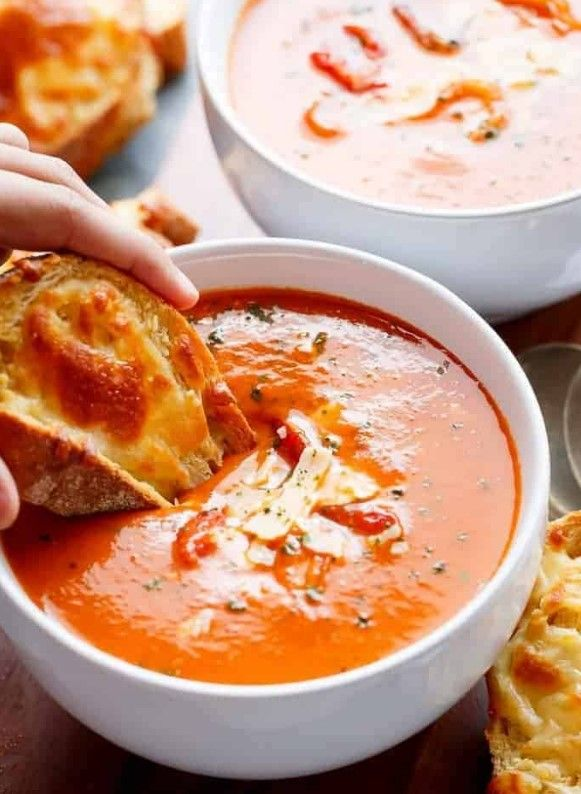 Photo of Creamy fried tomato and basil soup
