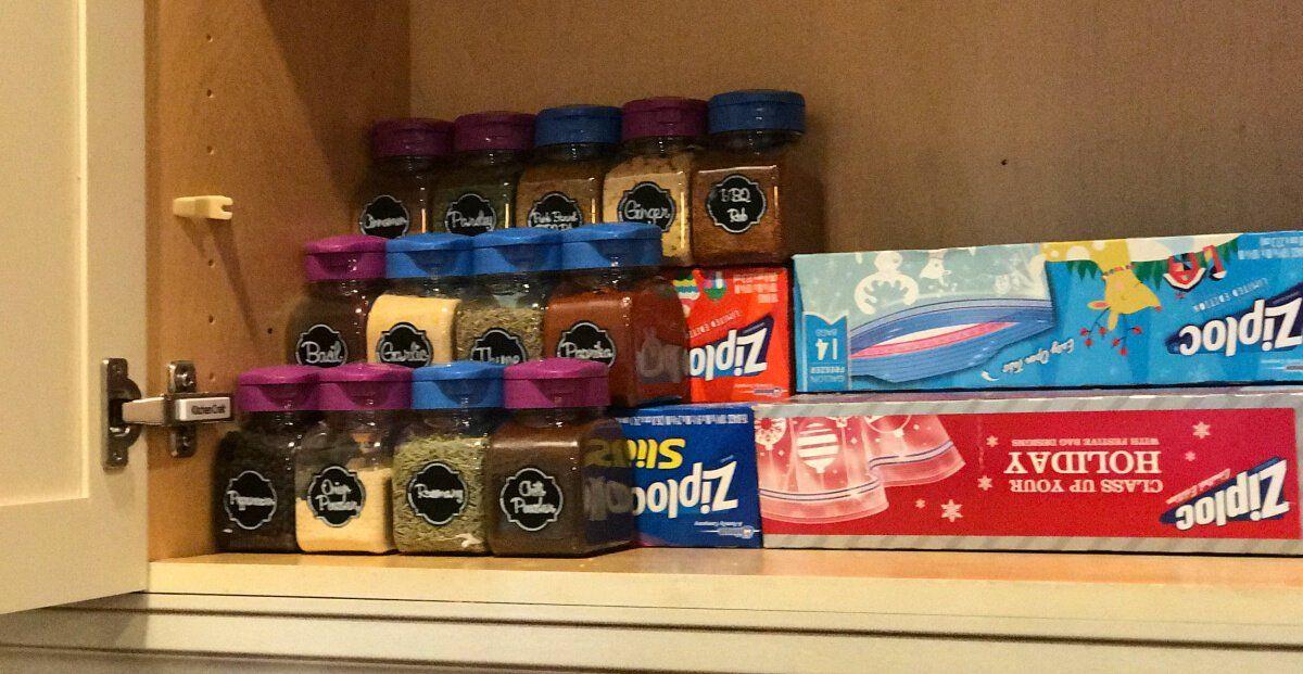 My Dollar Store Hack To Organize My Spice Cabinet Spice Cabinet Organization Spice Organization Diy Spice Rack