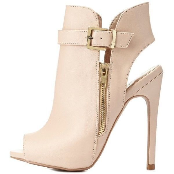 52b1de1ce62 Charlotte Russe Nude Belted Zip-Up Peep Toe Booties by Charlotte ...