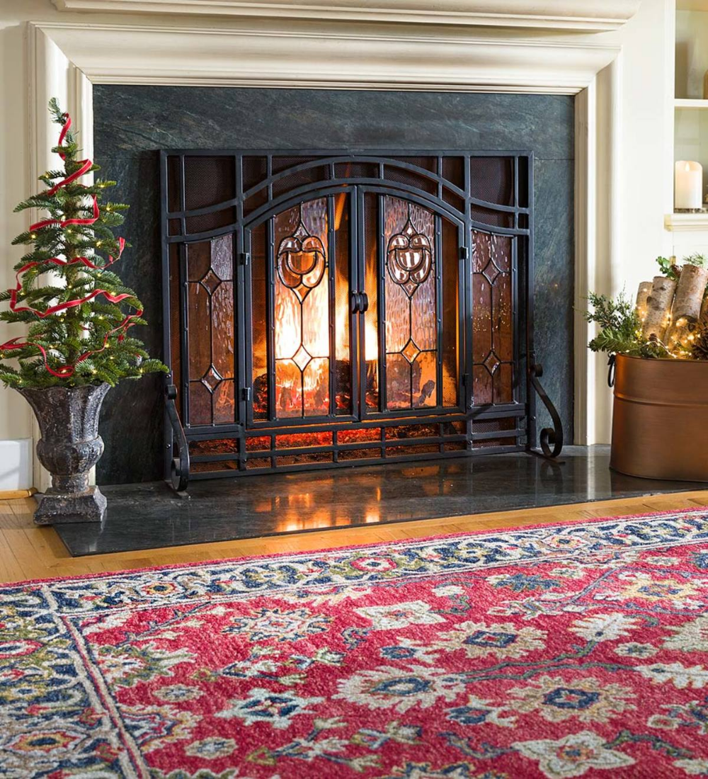 Two Door Fireplace Screen With Glass Floral Panels In 2020