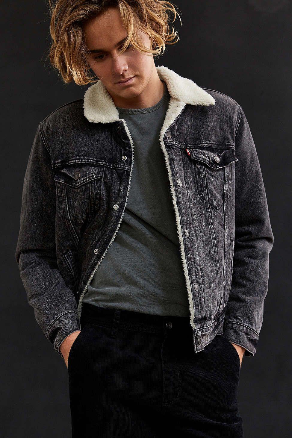 Levi's Denim Sherpa Jacket | Sherpa jacket, Denim jacket men