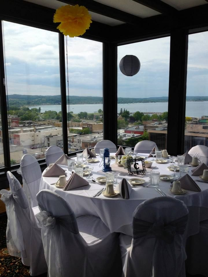 Reception At The Top Of The Park Place Hotel In Traverse City, Mi. View  From The Room. Corniel Wedding By Events To Remember TC.