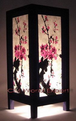 Asian Oriental Table Room Desk Lamp Decor Lighting Cherry Blossom Tree Cherry Blossom Decor Lamp Decor Paper Lantern Decor