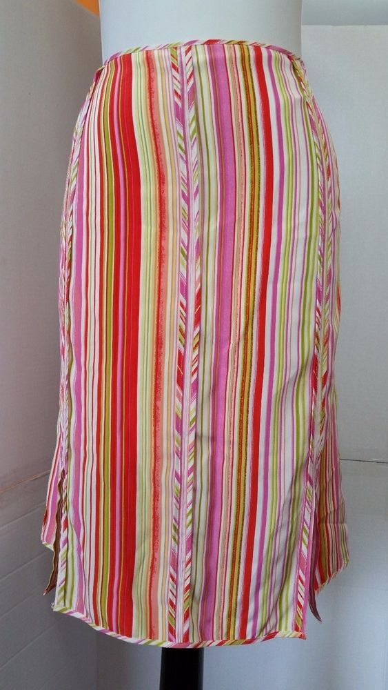 Essentials G Las Ventanas Silk Skirt Womens Plus Sz 18w Striped
