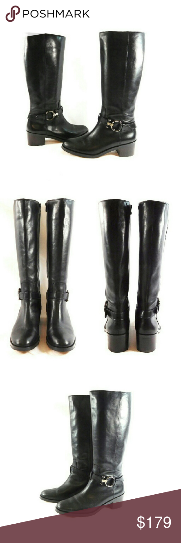 "Coach Carolina Black Leather Riding Boots Thanks for checking out my closet. I take all my own pics. The boots are authentic and in great pre-owned condition, with original box. Boots are made of leather with 2"" heel, 17"" shaft height, and 16"" calf circumference. Coach Shoes Heeled Boots"