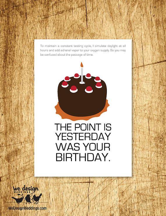 Printable Portal Glados Quote Birthday Card DIY Digital Download Design Features Aperture Science Cake