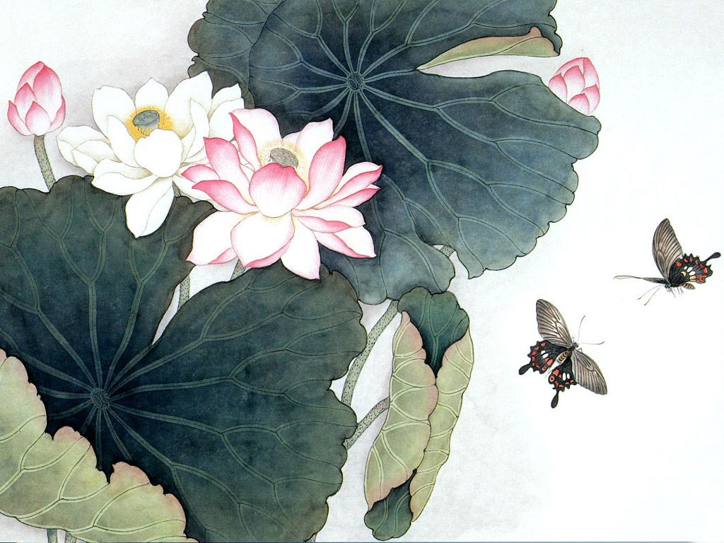 03286 Lotus Leaves Lotus Flowers Pictures Paintings Pics Art