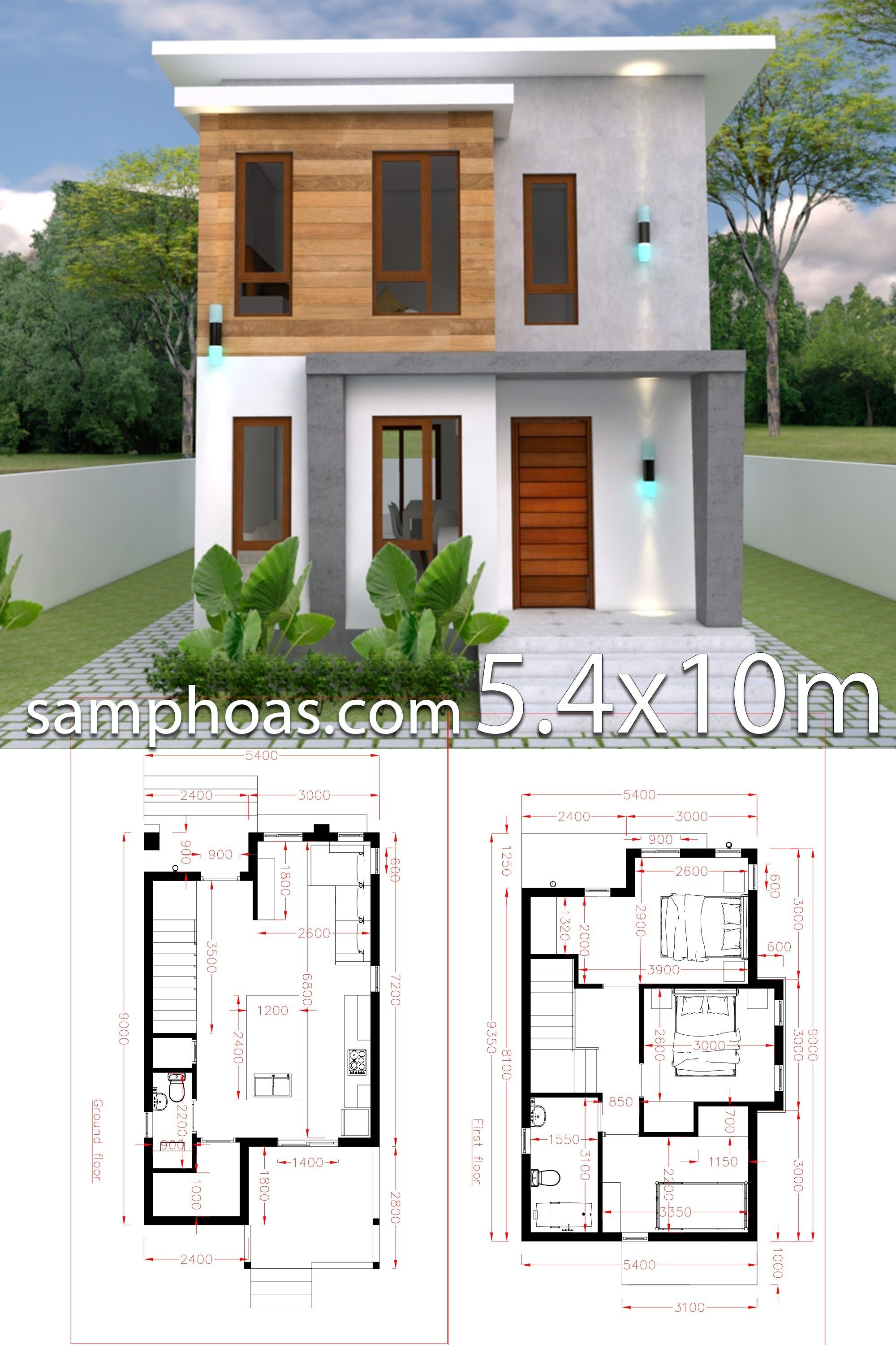 Small Home design Plan 5.4x10m with 3 Bedroom | House | House design ...