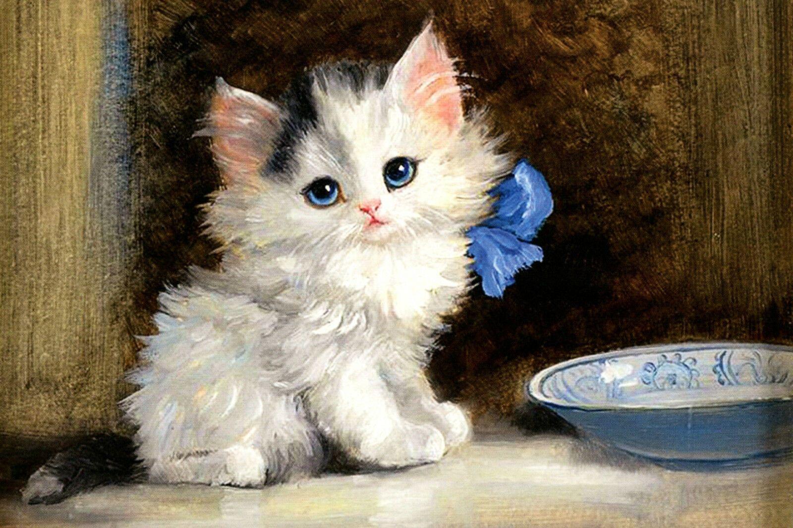 Kitten With A Blue Bow By Meta Pluckebaum Cat Art Russian Modern Postcard Ebay In 2020 Cat Art Dragon Ball Painting Modern Postcard