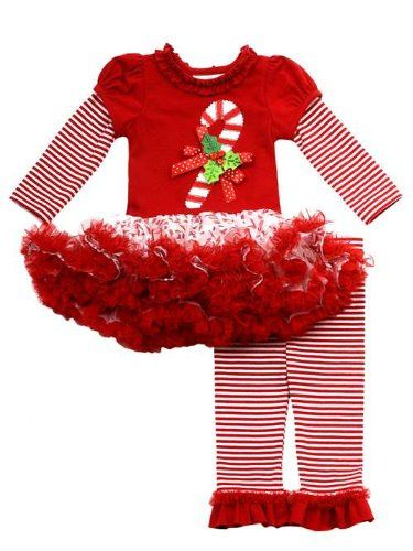 Rare Editions Girls Candy Cane Holiday Dress Outfit Leggings Red 24M * See  this great product. (This is an affiliate link) #ChristmasGirlsOutfit - Rare Editions Girls Candy Cane Holiday Dress Outfit Leggings Red 24M