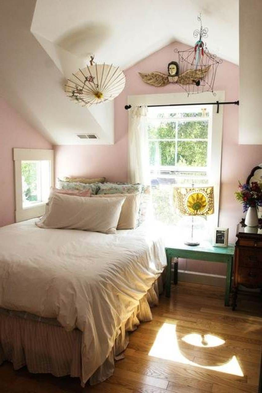 attic room pretty in pink and white