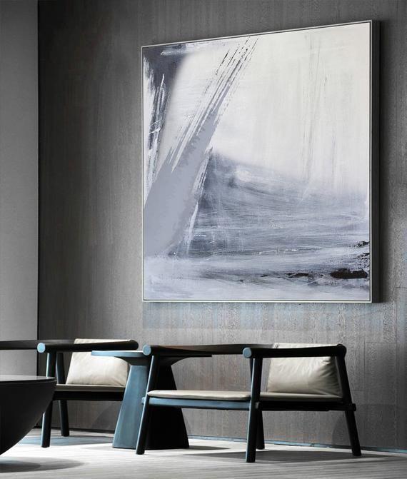 Black White Wall Artgrey White Minimalist Canvas Artlarge Etsy Minimalist Canvas Art Large Abstract Painting Black And White Wall Art