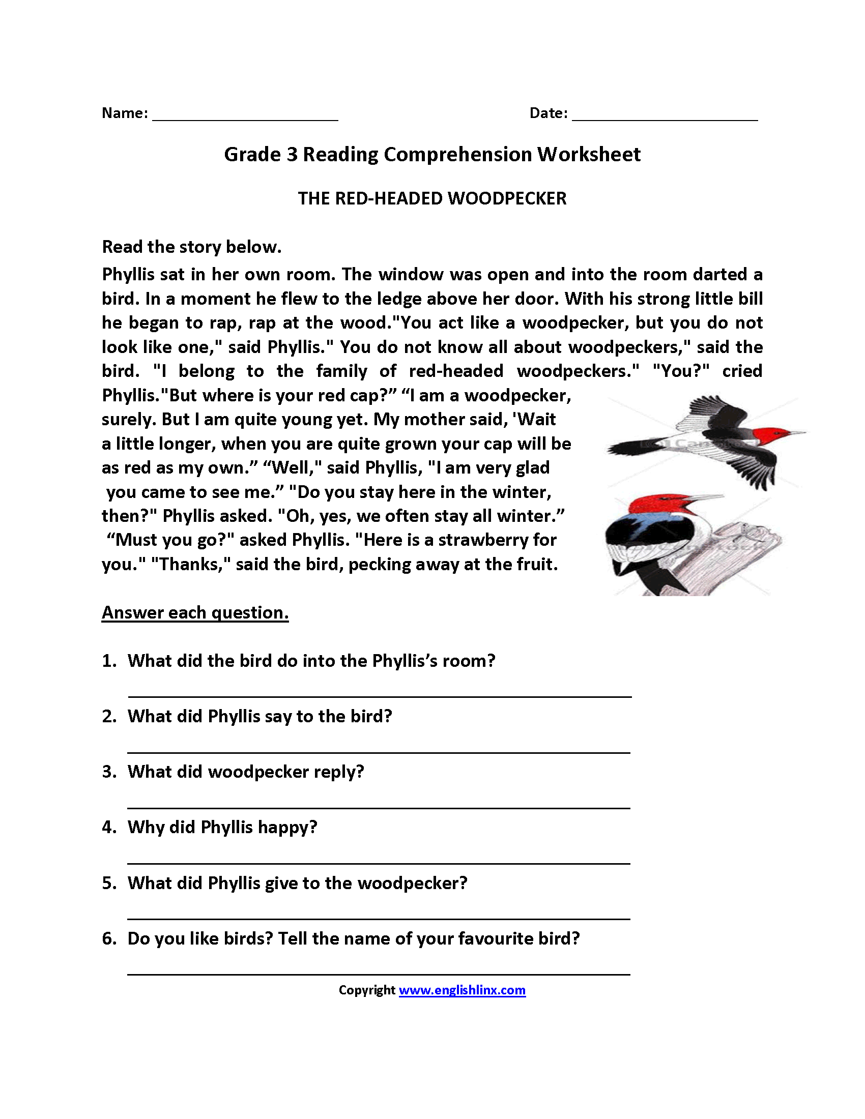The Redheaded Woodpecker Third Grade Reading Worksheets In
