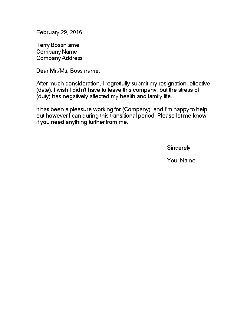 Resignation Letter Due To Stress from i.pinimg.com