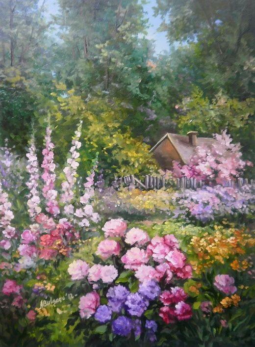 Gradina Inflorita In Lumina 55x40 Cm Prezentare Landscape Paintings Garden Painting Landscape Art