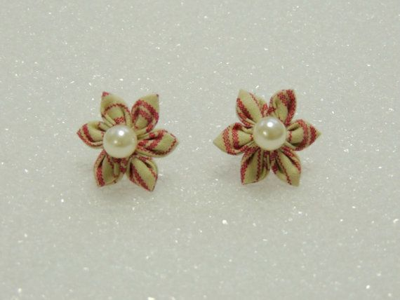 Beautiful Fabric Flower Blossom Earrings - Pink and White / Cream Candy Stripe, Light Pink Pearl Centers