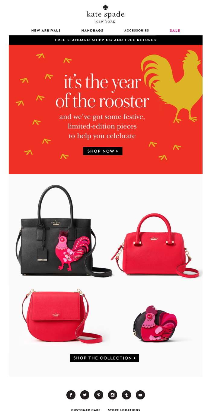Chinese New Year Email From Kate Spade With Year Of The Rooster Product Recommendations Emailmarketing Email Newyear Happy Lunar New Year Email Subject Lines