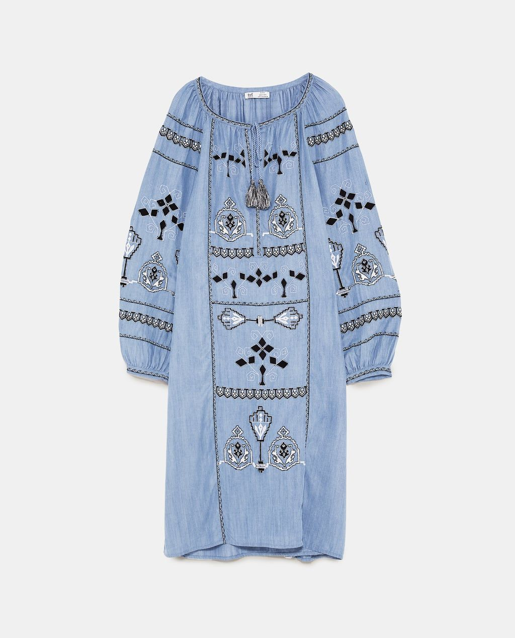 a0174781 Image 8 of EMBROIDERED DENIM TUNIC DRESS from Zara | Fashion Trends ...