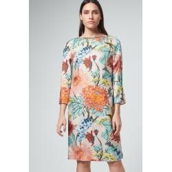Photo of Silk dress in beige with colorful flower print windsor