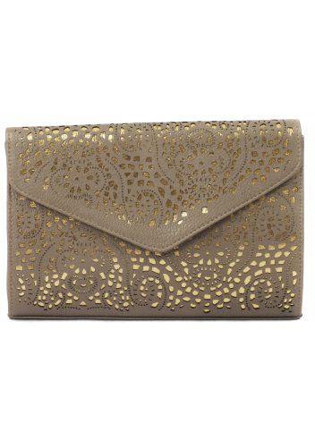 Cheeky Budha Taupe Envelope Clutch Bag Gold