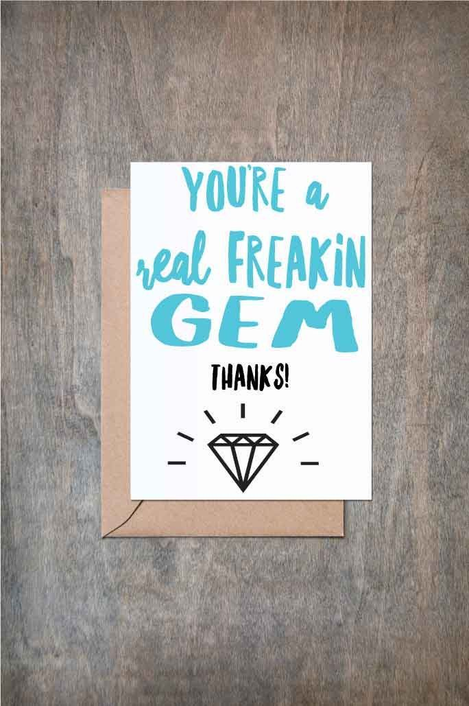 Thanks Youu0027re a Real Gem Friend Card Thank You card Thank You - thank you note to friend