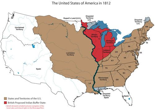 Map Of America In 1812.The United States Of America In 1812 War Of 1812 War Of 1812