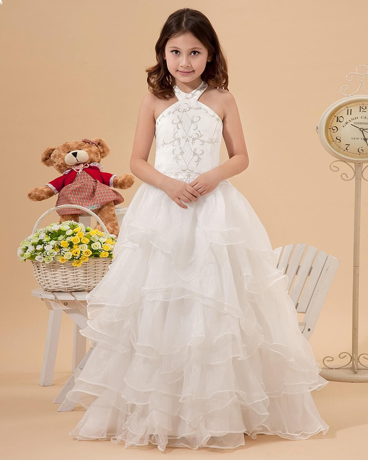 Hairstyle For Halter Neck Wedding Dress: Beautiful Halter Neck Embroideried Satin With Organza