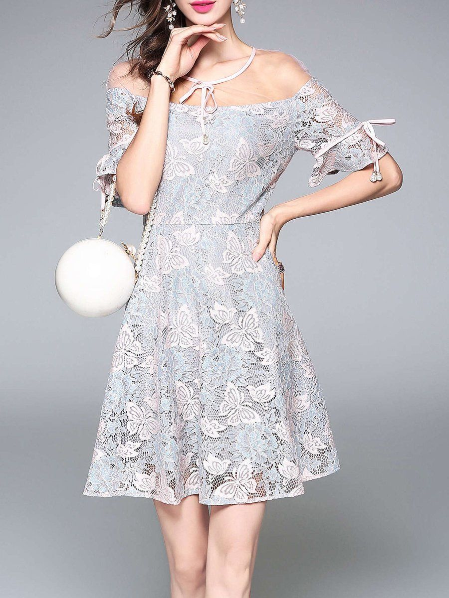 57f3a77c1f0  AdoreWe  StyleWe Womens - TOOTANG Pink A-line Half Sleeve Guipure Lace  Casual Midi Dress - AdoreWe.com