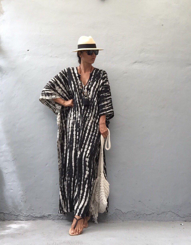 gefärbte stilvolle Kaftan Kleid / Abendkleid, vertuschen, Boho Kleid ...