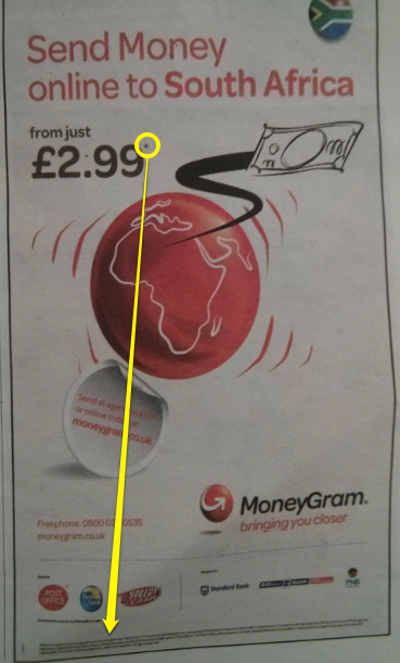 Here MoneyGram are advertising a fixed transfer fee of £2 99  It's