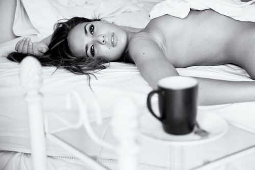 Naked women with coffee are