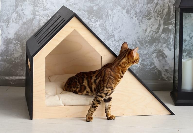 Modern Cat House Cat Bed Wooden Cat Bed Wooden Pet House Modern Cat Bed Cat Sleeping Place Cat Cushion Cat Furniture Cat House Modern Cat Bed Modern Cat Cat Bed