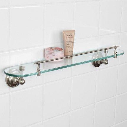 Holliston Tempered Glass Shelf - Brushed Nickel Bathroom