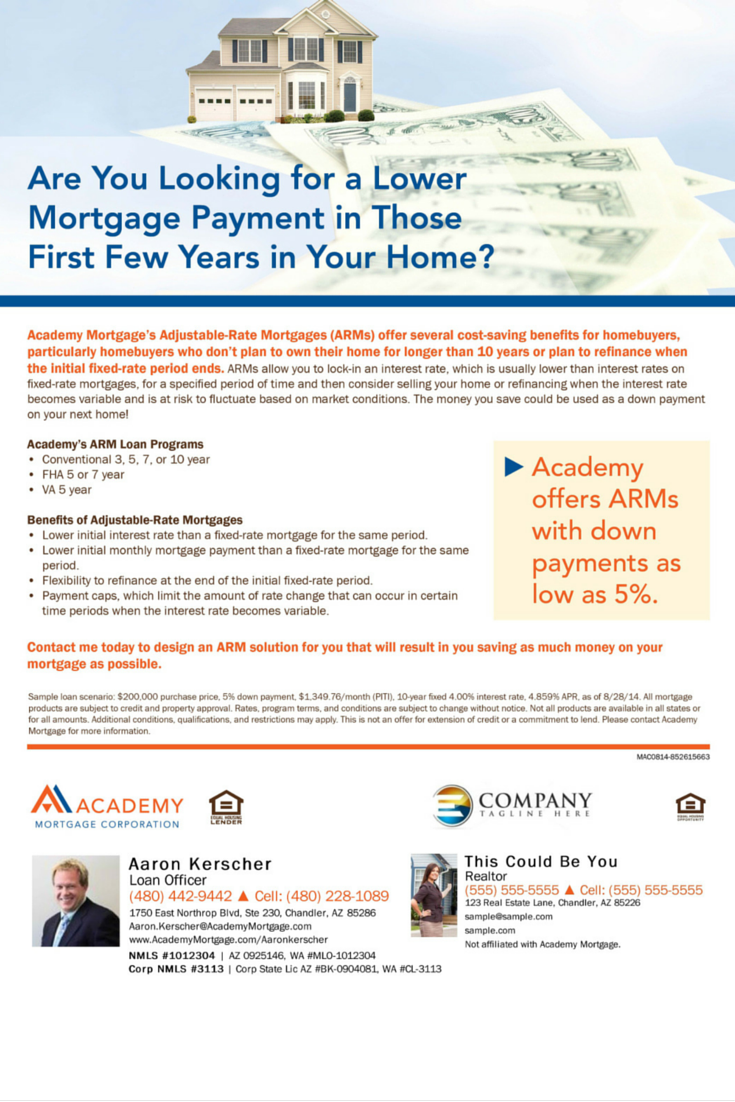 Adjustable Rate Mortgages With Down Payments As Low As 5 Aaron Kerscher Loan Officer At Academy Mortgage Adjustable Rate Mortgage Year Plan Mortgage Payment