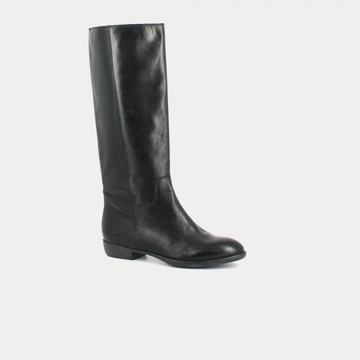 Bottes plates en cuir lisse noir | Bottes cuir, Bottes cuir