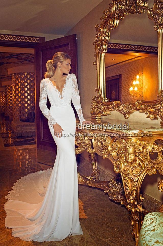 2014 New arraival Sexy Berta Wedding Dresses lace long sleeves Vestidos De Noiva Mermaid Bridal Gowns weddings and events