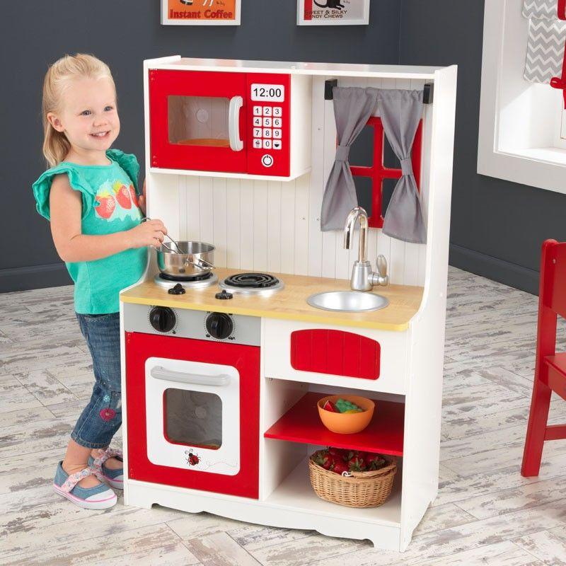 Cocina De Juguete De Madera Color Rojo De Kidkraft Para Niñas Y Niños Cocina De Juguete De Madera Cocinas De Juguete Cocina Madera