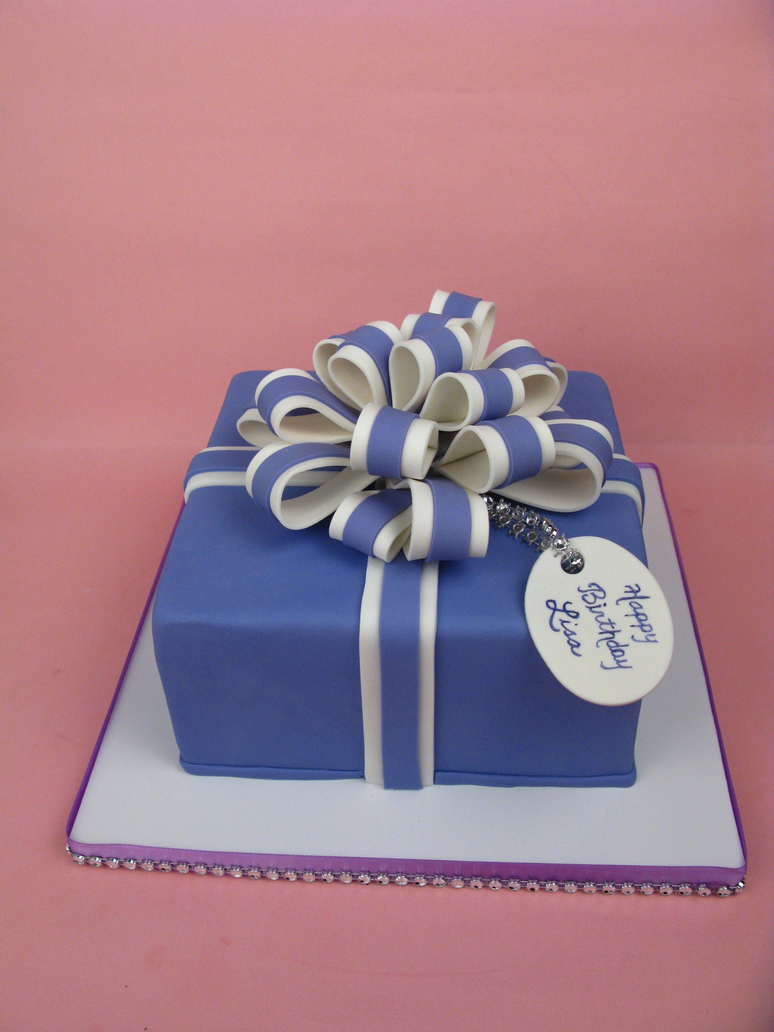 Present Cake Bow Topper Purple Square Birthday Cakes