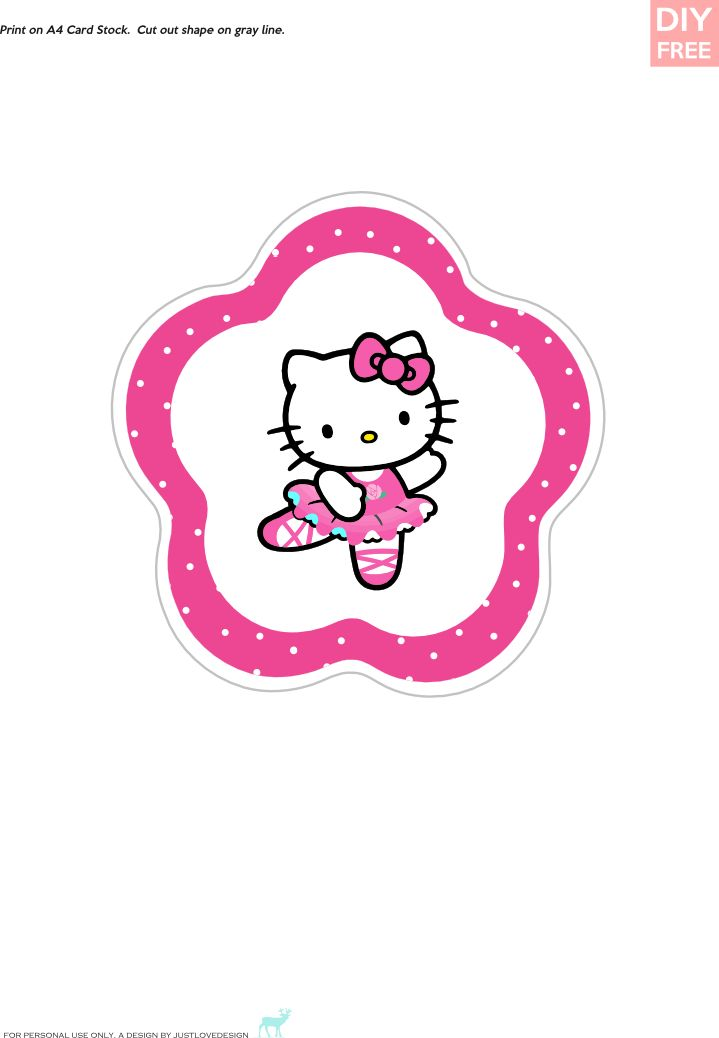 DIY FREE Hello Kitty Cupcake Toppers Download Hello Kitty Cake
