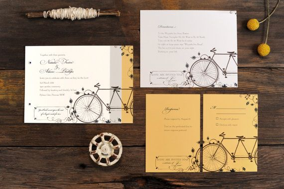 Tandem Bicycle Wedding Invitations Bike Invite Vintage Fl Summer Set
