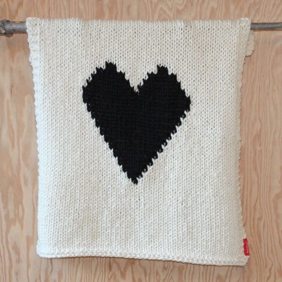 Knitted Heart Baby or Lap/Throw Blanket by YarningMade on Etsy ...