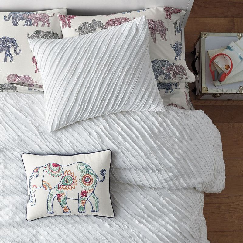 Charlotte Cotton Jersey Duvet Cover / Sham - It's all about texture. Our Charlotte Cotton Jersey Bedding strikes the perfect balance between pretty and practical. Woven of super-soft jersey knit, this cozy-chic duvet cover is accented with rows of naturally frayed-edged, bias-cut strips.