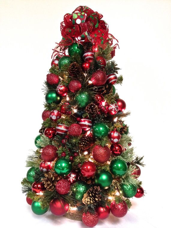 24 very full table top pre lit pre decorated christmas tree traditional colors by sandynewhartdesigns 12500