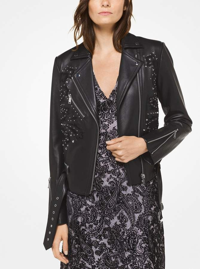 e56c0a72fcd108 MICHAEL Michael Kors Embroidered Leather Moto Jacket | Products ...