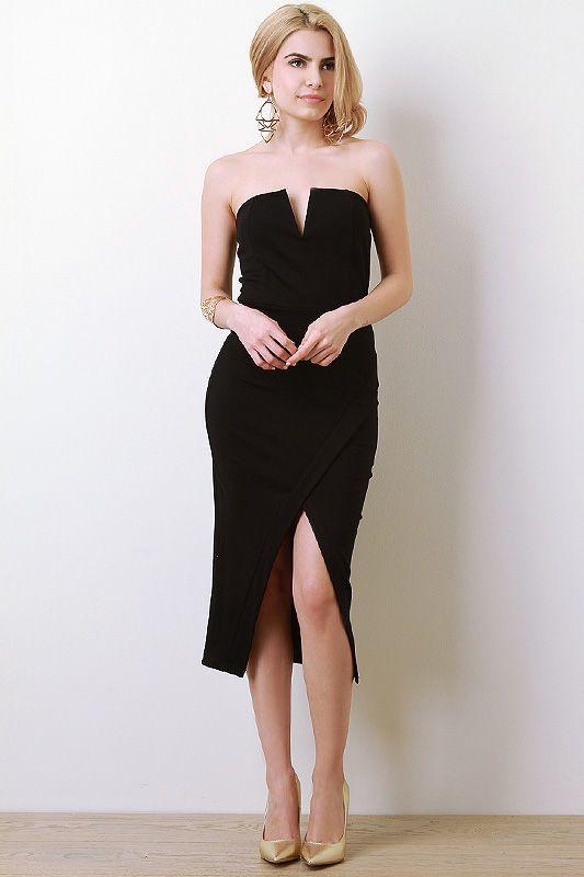 Strapless V-Cut Wrap Dress | Hello Fall |