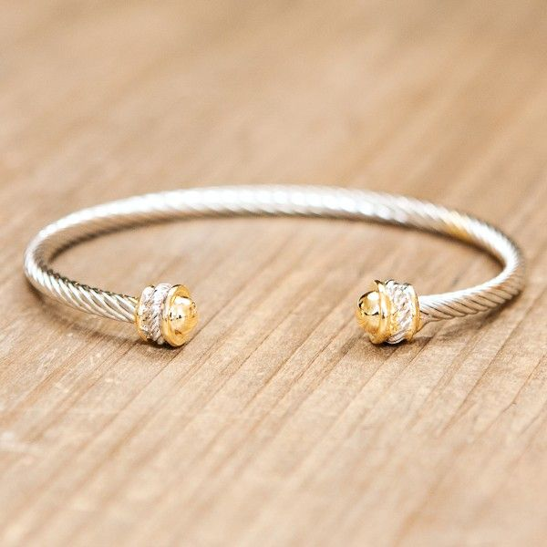 Designer Cable Capped Bangle Gold | Kelly's Treasure